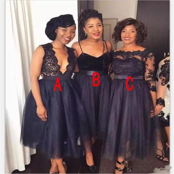 2019 Navy Blue Cheap Bridesmaid Dresses Off Shoulder Deep V Neck Lace Tulle Spaghetti Straps Long Sleeves Tea Length Maid of Honor Gowns