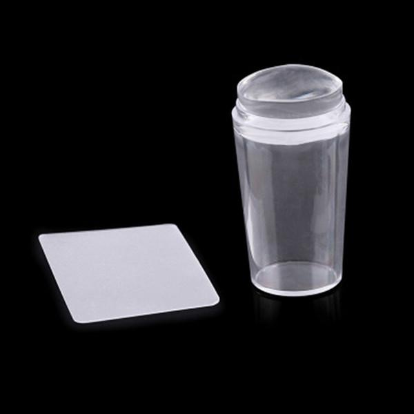 2pcs / ensemble modèles d'art de clou pur clair gelée de gelée d'ongle de silicone emboutissant le grattoir avec le bouchon transparent Art de timbre