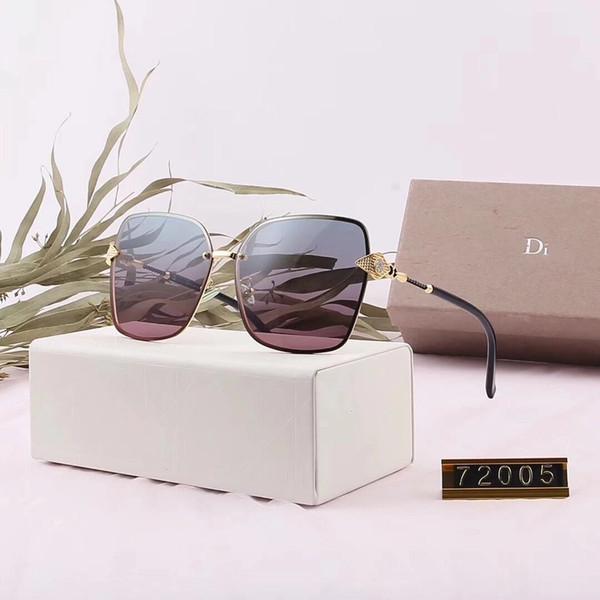 Marka Kadın Moda Tasarımcısı Güneş Lüks Güneş Gözlüğü Adumbral Gözlüğü Güneş Gözlükleri UV400 Stil 72005 Kutu ile 6 Renk Süper Kalite