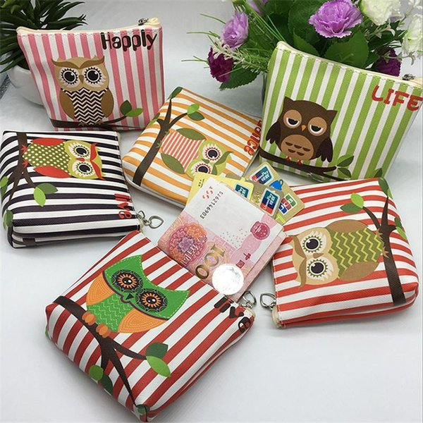 2PC New Cute Owl Print Girl Kids Animal Coin Purse Mini PU Zero Wallet Holder Cartoon Pattern Zipper Coin Pouch Gift For Child