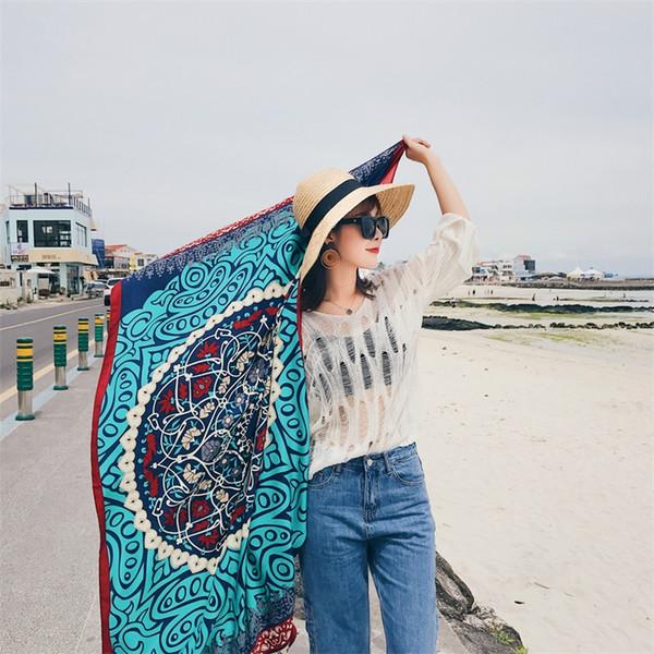 الإناث شال القطن والكتان وشاح نمط العرقية الشاطئ السياحة اللوازم لينة ماندالا أكثر لون الموضة 10 5sh C1