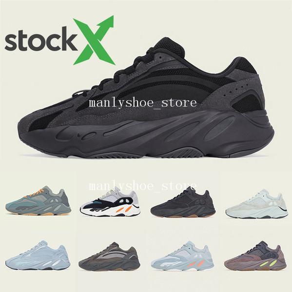 2020 New Kanye West 700 V2 statique 3M mauves Inertie 700s coureur de vague Hommes Chaussures de course pour hommes femmes chaussures de sport bottes de concepteur E 36-46 4