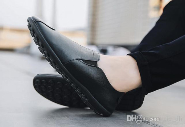 Lazy people pedal leisure men's bean shoes with soft sole 2019 old Beijing cloth shoes breathable men's single shoes