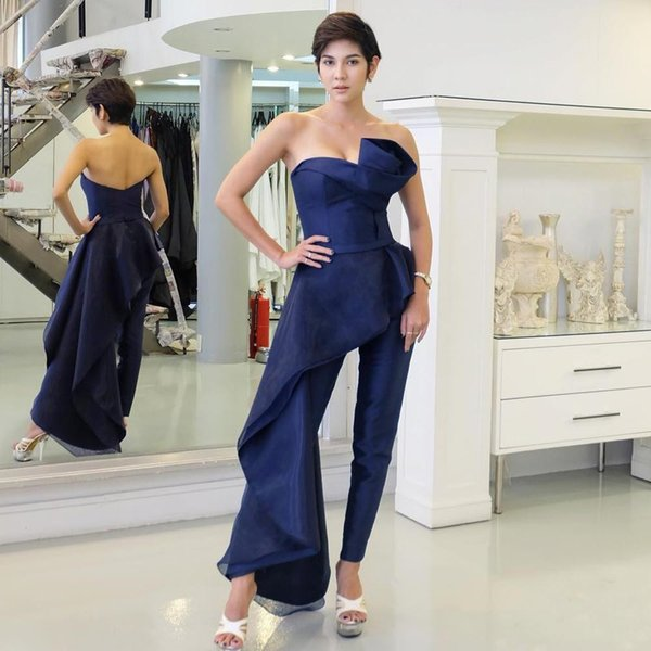Fashion Women Royal Blue Pant Suits Prom Gowns Strapless With Overskirt Evening Dresses Party Wear Vestidos De Fiesta Organza Cocktail Dress