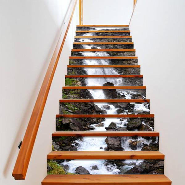 Diy 3d Waterfall Stair Stickers Waterproof Removable Self