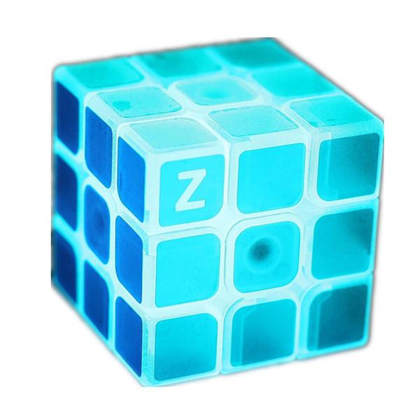 wholesale 3x3x3 Profissional Magic Cube Blue Light Transparent Glow Competition Speed Puzzle Educational Cubes for Children