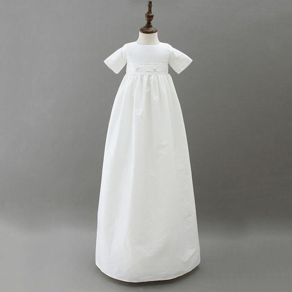 От 3 до 12 месяцев девочки длинные крестины платья, шляпа, летний хлопок евро одежда, дети бутик белая одежда, R1AM710DS-19