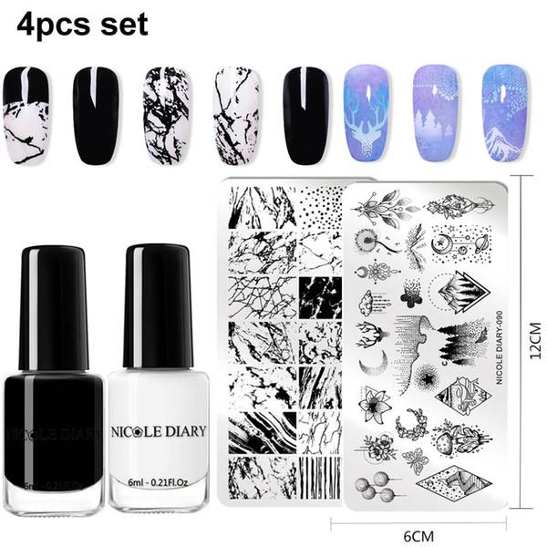 NICOLE DIARY Plaques pour tampons à ongles Ensemble de polonais Géométrie Fleur Modèle pour tampons à ongles Imprimante Stamper Kit de vernis