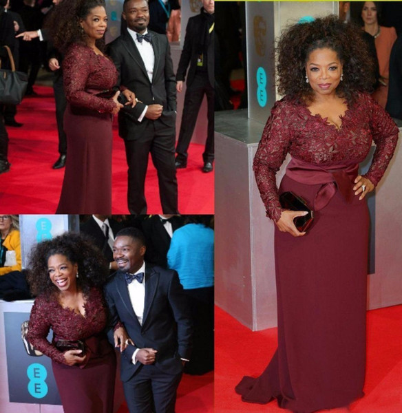 Red Carpet Plus Size Abiti da sera bordeaux Oprah Winfrey Fodero scollo a V manica lunga in pizzo Top Sweep Train Prom per Fat Donne abiti da festa