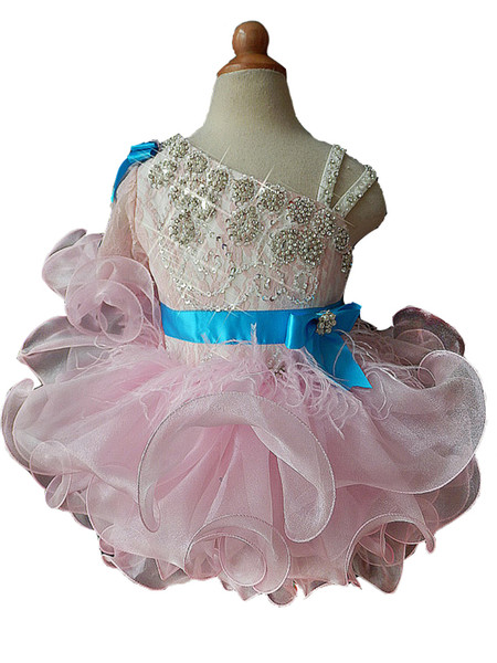 Toddler First Birthday Party Short Gowns Baby Girls Sleeves Sequined Tutu Outfits Kids Pageant Cupcake Dresses