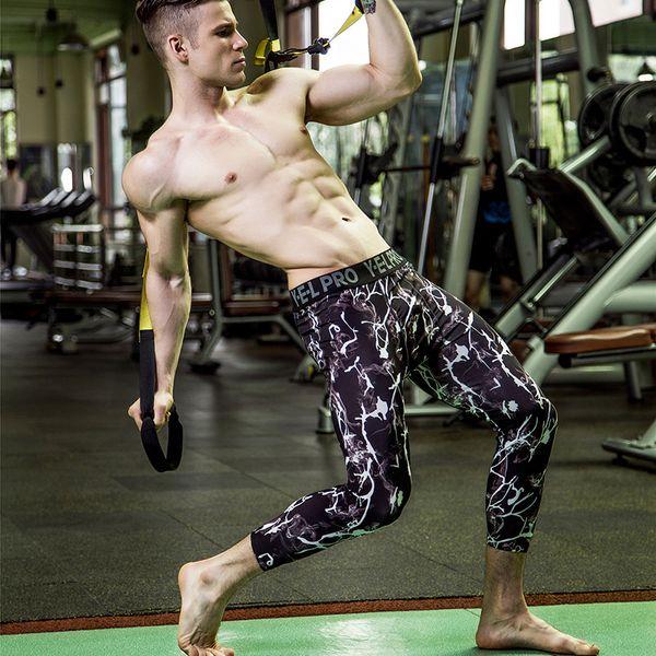 Mens compresión 3/4 pantalones de secado rápido Spandex Elasticidad del basculador de la aptitud medias pantalones polainas flacas pantalones de secado rápido legging