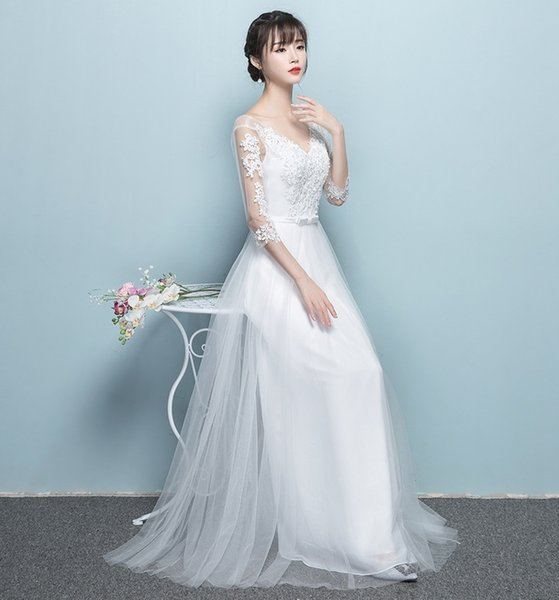 Spring and Summer Korean New Lady Banquet Embroidered Gauze Party Dress Presenter Annual Meeting Bridesmaid Long Skirt Formal Wear QC0197