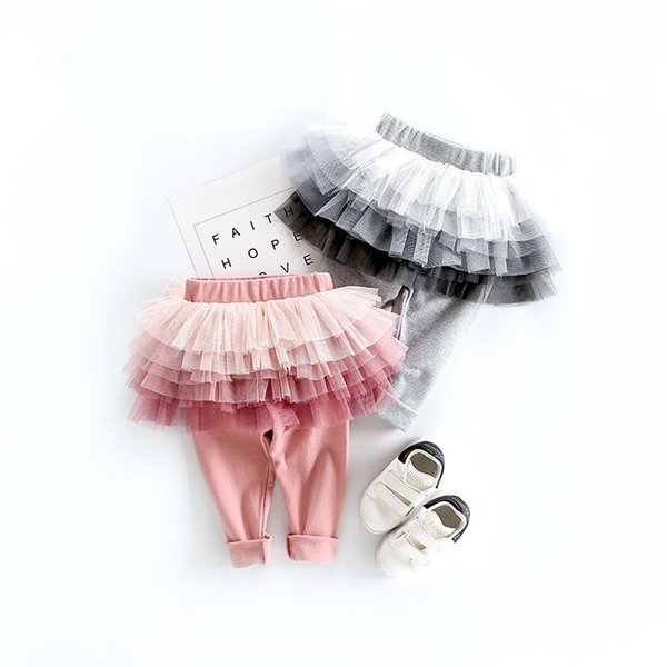 2018 Autumn Cotton Pants Baby Girls Kids 6 Layers Tulle Skirt Skinny Leggings Toddler Ball Gown Party Leggings Children Clothing