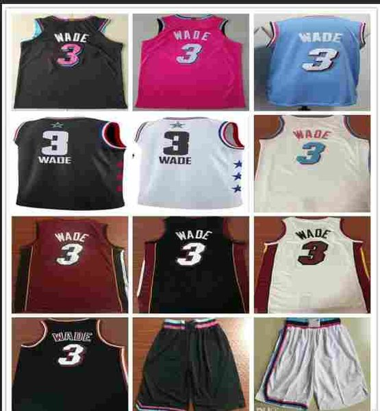 online store f527e 0c24e 2019 2016 MiamiHeat 100% Stitched 2019 New Style DwyaneWade Jersey Black  White Red Pink Blue Color 3 Basketball Shirts Jerseys Shorts Allstar From  ...