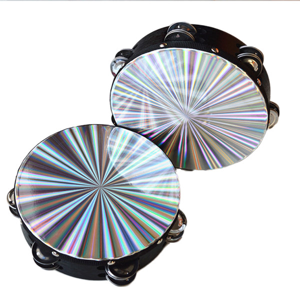 top popular High Quality Laser Tambourine Band Tambourine Orff Double Row 8 Inches Dancing Singing Accompaniment Quality Gift Music Instrument 2020
