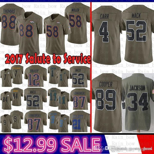 meet 85e8c 20476 2019 Best 2017 Salute To Service Oakland 4 Raiders Erek Carr 34 Bo Jackson  52 Mack 89 Cooper Denver Jersey Broncos 58 Miller 88 Demaryius Thomas From  ...