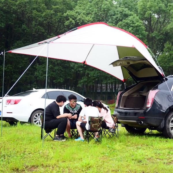 Tente de voiture étanche 5-8 personnes extérieure avec alliage d'aluminium Polonais Portable tentes de voiture tente bâche Sun abri pour la pêche au camping VT0165