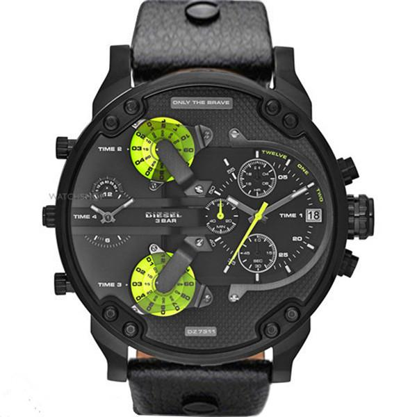 2019 Top brand reloj automático de acero para hombres correa de cuero 52 mm dial grande volver hombres de negocios de moda casual reloj de moda