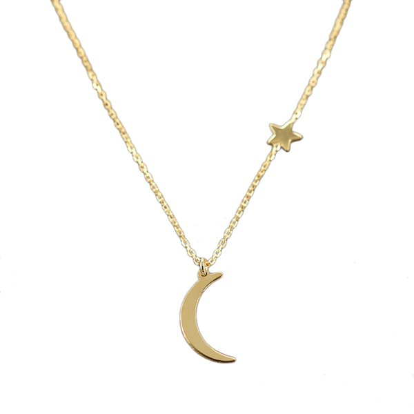 Lua simples e versátil cobre lua colar de pingente para as mulheres nova colares declaração moda jóias presente