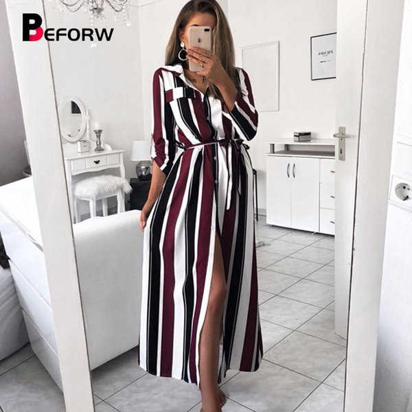 Beforw 2018 Office Lady Turn-down Collar Button Lace Up Long Shirt Dress Women Autumn Winter Long Sleeve Stripe Maxi Dresses Y190408