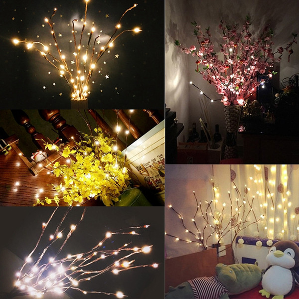 Decoração da árvore de natal ramo de salgueiro 20 lâmpadas piscando led corda luz alto vaso de galho de salgueiro lâmpada home garden party decor dcc vt0373
