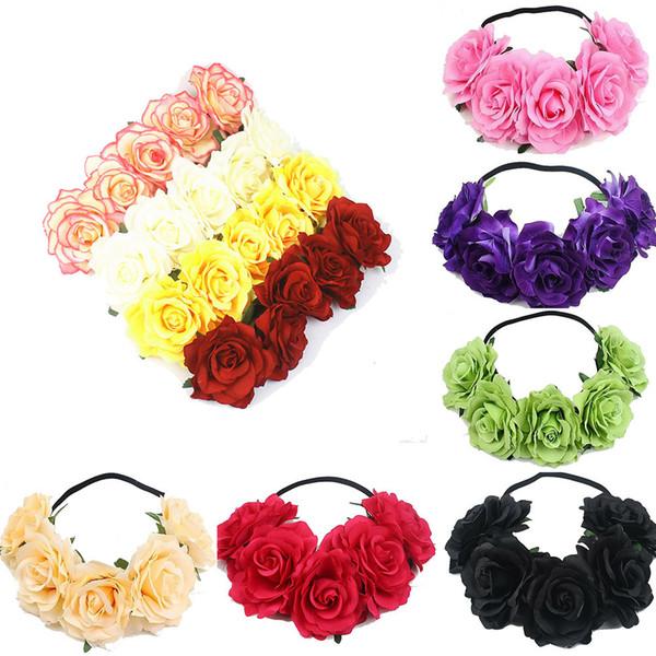 NOUVEAU Mode 1PCS Fille Couronne florale Rose Fleur Bandeau Hairband mariage cheveux Garland Coiffe Accessoires à haute qualité