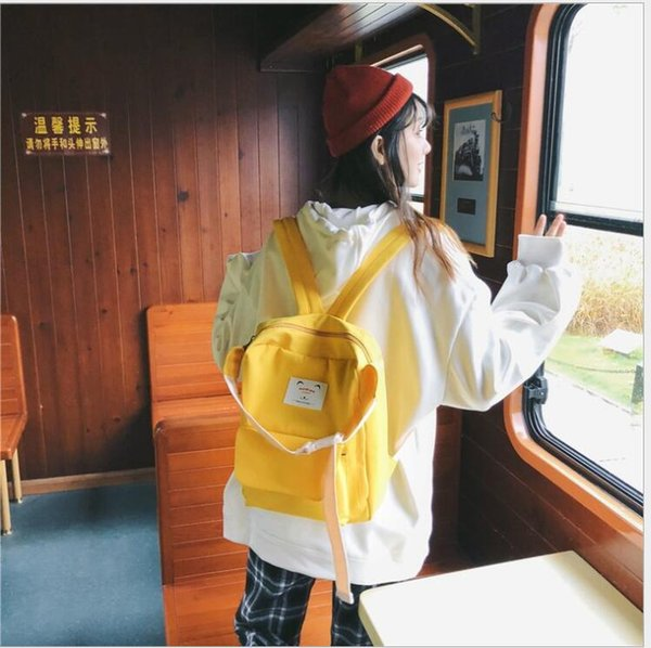 Высокие твердые Школьные Сумки На Плечо для Подростков девочек школьные сумки Dinim mori девушка Кампус рюкзак Мода повседневная милые сумки