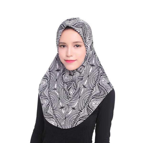 Mode féminine couvre-chefs musulmans motif imprimé Hijab Casquettes Echarpes femme Hijab foulard musulman islamique
