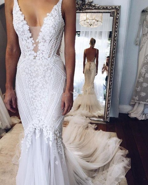 2019 Berta pallas couture Mermaid Wedding Dresses Deep V Neck Sexy Back Unique Lace Sweep Train Summer Spring Bridal Gown Custom Made Real