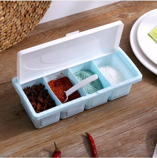 1 en 3-bocal à épices plastique ASSAISONNEMENT CONDIMENTS de stockage durable boîte de cuisine Outils