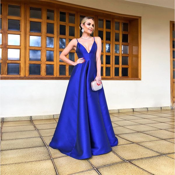 2019 Royal Blue Mermaid Evening Dresses Deep V Long Arabic Dresses Custom Made Formal Evening Gowns Prom Cocktail Party Wear