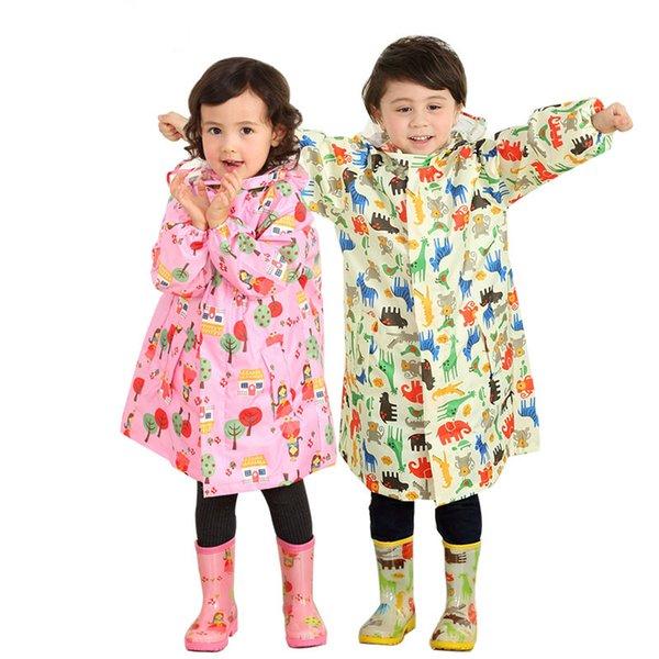 Crianças menina menino poliéster azul rosa dos desenhos animados raincape capa primária escola rainwear garoto estudantes dos desenhos animados poncho com chapéu