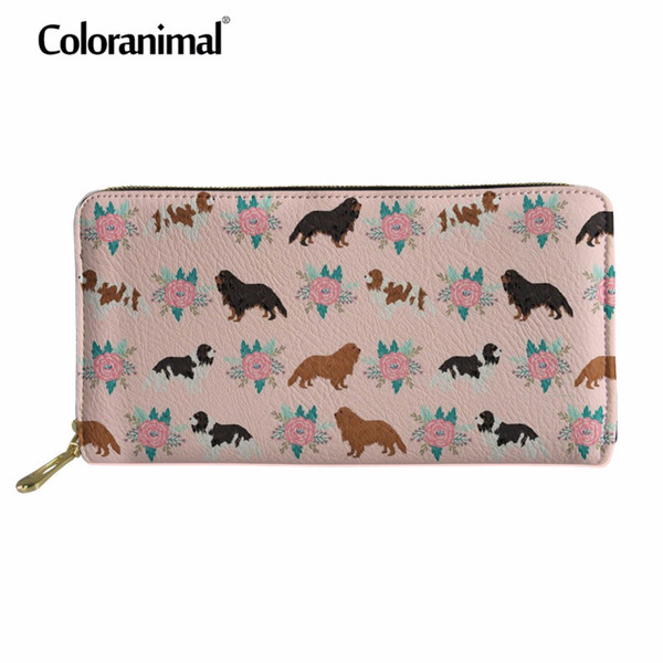 Coloranimal Cavalier King Charles Spaniel Carteras Impresión 3D Mujeres Hombres Tote Shopper Cash Money Pocket Card Holder Monedero de cuero