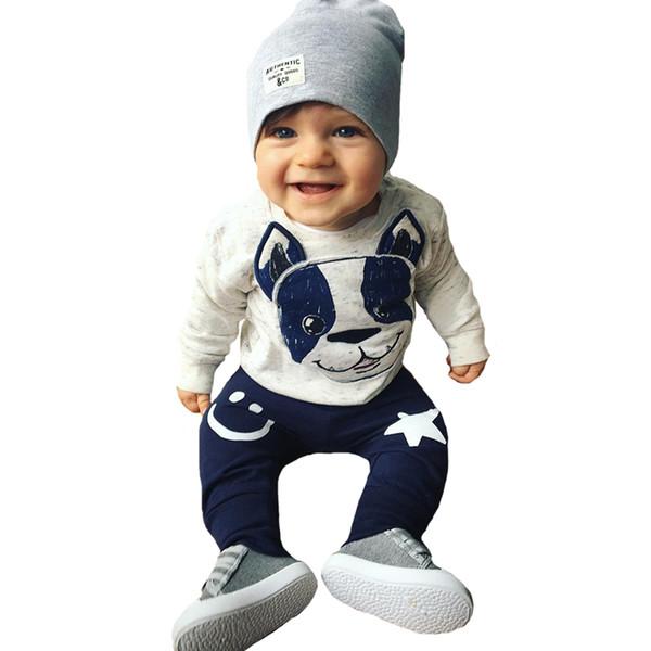 Erkek bebek Giyim Seti Noel Hayvan Köpek Çocuklar Bebek Giysileri Sonbahar Karikatür T-shirt + Yıldız Gülümseme Yüz Pantolon Kız Giyim Setleri Y190515