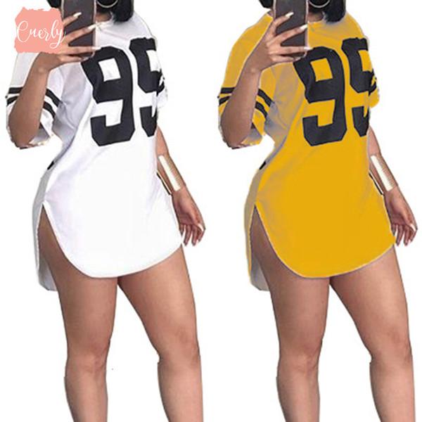 Платье Street Короткого Номер Printed Стиль Sleeved Мини платье Повседневного Плюс Размер пуловер Tshirt Tops Ws7225u