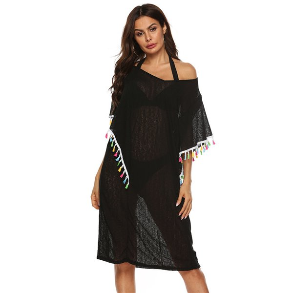 черный пляж платье M