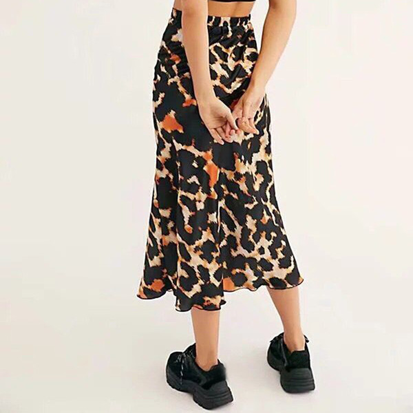 Мода Leopard Печатный Женская Юбка Повседневная A-Line Mid-Calf Эластичная Высокая Талия Длинные Юбки Мода Летняя Юбка Юп Longue