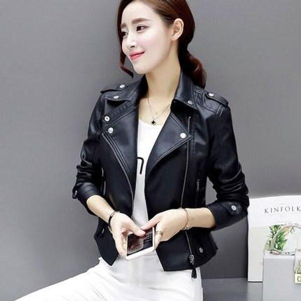 ad089f059 Leather Jacket Women Stud/Rivet Moto Biker Zip Coats Chaqueta Blazer PU  Jack Jaqueta Couro Rock Cuir Femme Casaco 2018 Suede Jackets Brown Leather  ...