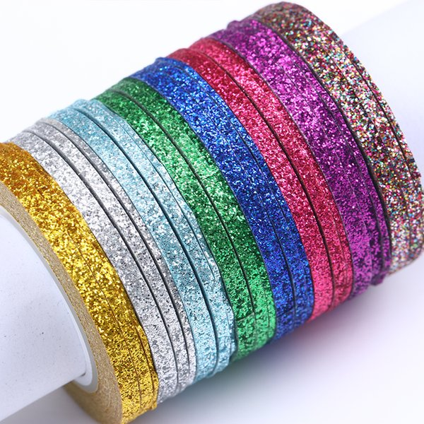 Art Stickers Decals 3Pcs Matte Glitter Striping Tape Line Nail Sticker Silver Colorful 1 2mm 3mm Nail Art DIY Adhesive