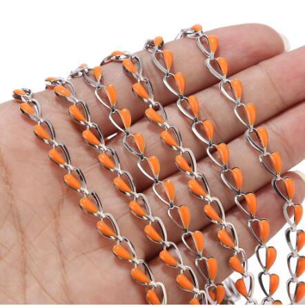 2 Meters 5.8mm width Heart shaped Stainless Steel Orange Enamel Chain Jewellery Chains of Necklace Bracelet Earring Accessories
