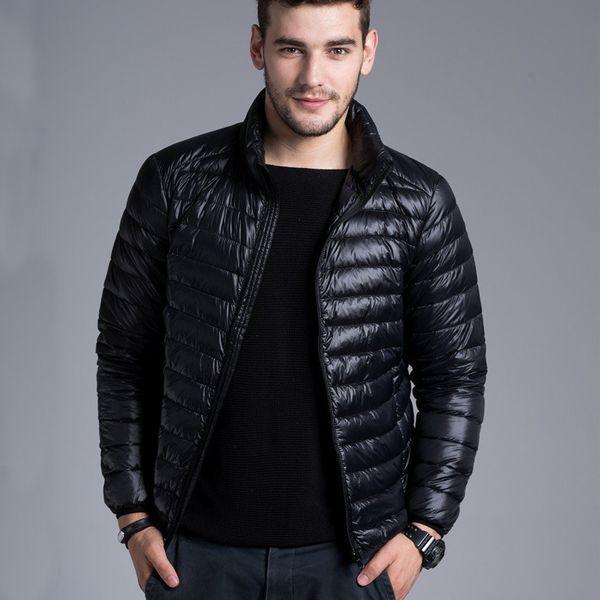 Winter Padded Jacekt Mens Brand Thin Duck Down Collar Casual Warm Coat Outerwear Parka Jackets Plus Size Xxxl Down Jacket Men