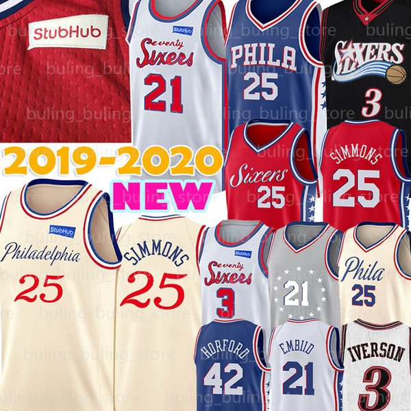 best selling Joel 21 Embiid Jersey 76ers Allen 3 Iverson NCAA Ben 25 Simmons Philadelphia Al 42 Horford College Retro Mens Basketball Jerseys 2020