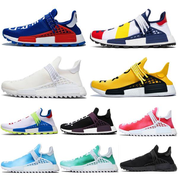NMD İnsan Yarışı Hu Trail Koşu Ayakkabıları Pharrell Williams Çin ÖZEL BBC Krem Nerd Bilmek Soul Kadın Erkek Eğitmenler Spor Sneakers 36-47