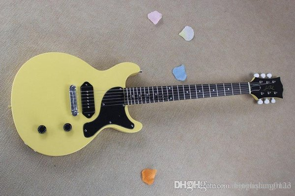 Commercio all'ingrosso - 2013 Chitarra elettrica solida di colore giallo solido con hardware dell'hardware G- lp modello chitarra OEM + Spedizione gratuita