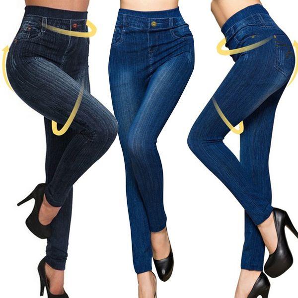 summer trousers women Stretchy Skinny Print Jeggings Imitation Jeans Seamless Denim Leggings pantalon verano 2019 mujer#BY25