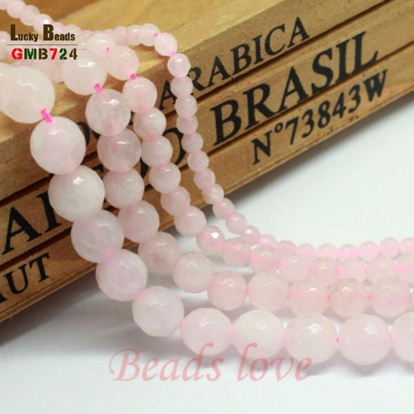 Jóia da forma Facetada rosa quartzo rosa Para Fazer Jóias 15 polegadas 6/8/10/12mm Gem Stone Beads Fazendo pulseira frete grátis