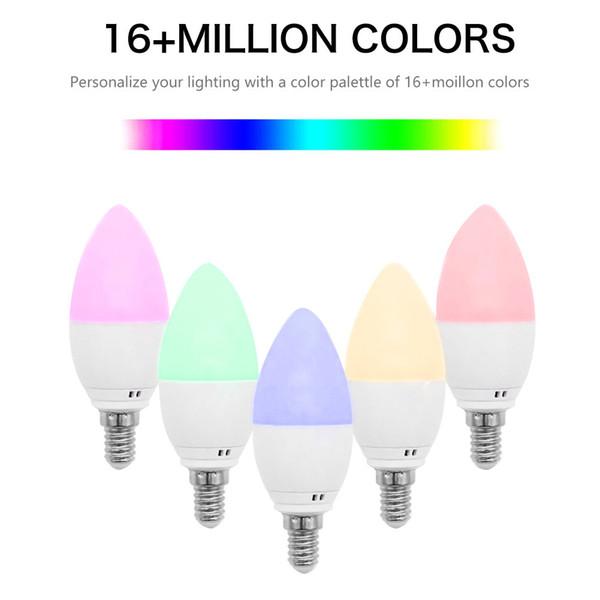 Smart E14 / E27 / E12 / B22 WiFi LED Lampadine a candela Funziona con Alexa Google Home 6W Lampadine a forma di candela Emulazione di luce Fiamma Lampade decorative