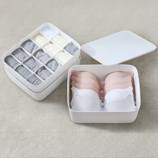 Underwear Bra Organizer Storage Box 4 Colors white/gray Drawer Closet Organizers Boxes For Underwear Scarf Socks Organiser