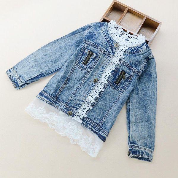 elegant girl denim jacket lace side retro princess coat jacket for 3-10years girls little kids children Spring Autumn outerwear jacket