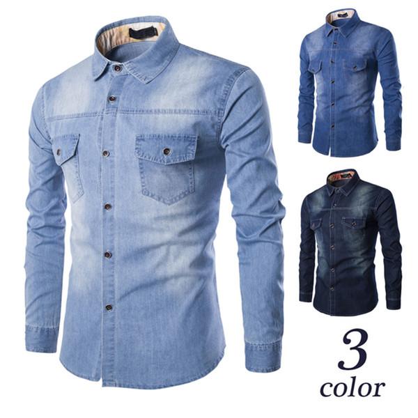 Venda quente dos homens Outono Moda Casual Slim Fit Denim Algodão Camisa de Manga Longa Blusa Top azul E Marinha Plus Size M-4XL